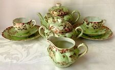 SUPERB ANTIQUE TEA SET, GREEN & GOLD, UNMARKED, LIKELY JAPANESE
