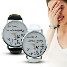 Women Men Leather Watch Whatever I am Late Anyway Letter Lover's Alloy Watches