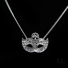 Venezianische Maske Blume Strass Kristall Silber Karneval Anhänger Halskette