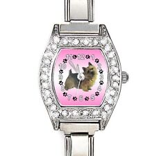 Norwich Terrier CZ Women Stainless Steel Italian Charm Quartz Wrist Watch BJ1045