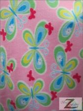 """BUTTERFLY PRINT POLAR FLEECE FABRIC-Baby Pink-36""""X60"""" SOLD BTY - 366"""