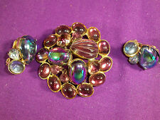 GORGEOUS VINTAGE AURORA BOREALIS CABOCHON BROOCH PIN/CLIP EARRINGS DEMI/SET