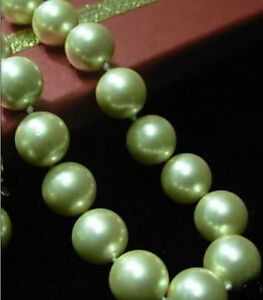 """Long 16"""" 18"""" 22"""" 24"""" 36"""" 12mm Apple Green Shell Pearl Round Beads Necklace AAA"""