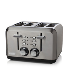 Haden Perth Sleek 4 Slice Toaster with Cord Storage - Stainless Steel