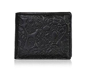 Shagwear Skull Pattern Men's Bi-Fold Faux Leather Wallet, Black