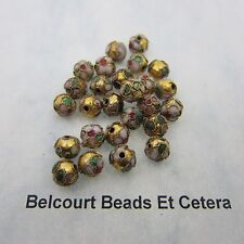 50 - 8mm Round Cloisonne Loose Beads - Pink Design on Gold Bead Floral Pattern
