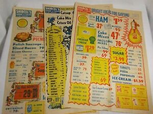 3 Vtg *SHIRCEL'S Shop & Save Six Corners* Grocery Advertising Ads SHEBOYGAN, WI