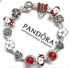 Authentic Pandora Silver Charm Bracelet With White & Red Flower European Charms