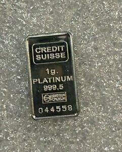 1 Gram Credit Suisse Platinum Bar ~~ .9995 Fine.