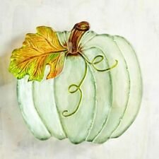 Pier 1 Imports Autumn Bliss Glass Pumpkin Serving Bowl Green Salad Dish New