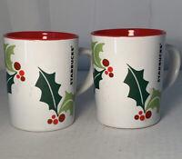 Lot Of 2 Starbucks Holiday Christmas Holly Small Coffee Mug Cup 2011 9oz