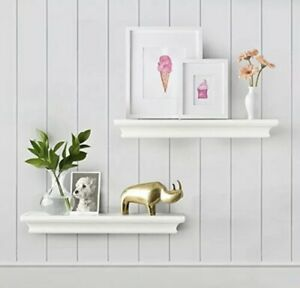 AHDECOR White Floating Shelves Ledge Shelf, 4 Inches Deep, Set of 2