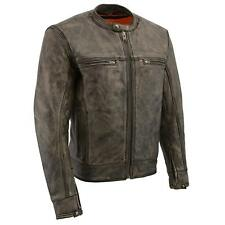 Milwaukee Leather Men's Motorcycle Distressed Brown Scooter Jacket  **MLM1550