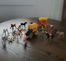 Vintage Plastic Toy Stage Coach-Covered Wagon- Horses Cowboy & Indian Lot of 33
