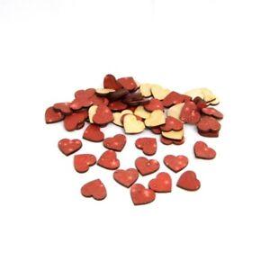 Herzen aus Holz zur Deko Hochzeit Geburtstag Tischdeko Streuteile 2,5 cm Rot