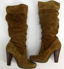 fb468df3213 MICHAEL KORS CAMEL TAN SUEDE KNEE HIGH SLOUCH PLATFORM BOOTS Women s ...