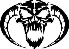 "Evil Horned Skull Decal Sticker Car Truck Window- 6"" Wide White Color"