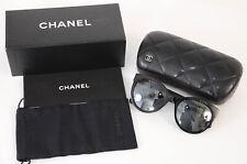 Chanel 5315 black silver-tone CC logo gradient cat eye frame sunglasses NEW $460