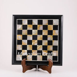 """15"""" Marble Chess Game Table Top Semi precious stones Work"""