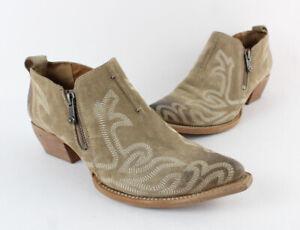Frye Auth Beige Suede  Distressed Western Style Zip Bootie Boot 8 1/2