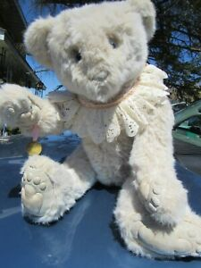 """VINTAGE WHITE TEDDY BEAR 24"""" ARTIST WENDY BRENT NOSES ROSES RARE MUSICAL WIND UP"""
