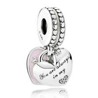 Sterling Silver Charm Mother And Daughter Hearts With Crystal Beads