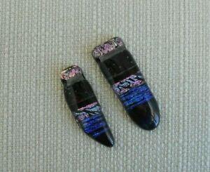 Set of 2 Dichroic Glass Pendants, Black, Blue, Pink