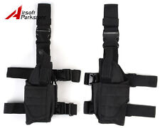 For Right + Left Hand Tactical Hunting Pistol Drop Leg Holster Pouch Bag Black