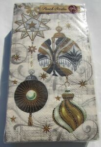 NWT Punch Studio 16170 Luxe Ornaments Ivory 32-Ct 3-Ply Paper Napkins Christmas