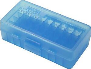 9mm / 380 Ammo Box Clear Blue 50 Round (Quantity 1) Buy 5 Get 1 Free (MTM)