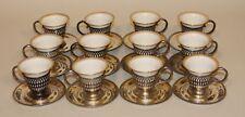 12 Webster Sterling Silver Willets Belleek Gold Porcelain Demitasse Cups Saucers