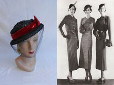 Vintage 1930s Black Cello Straw Boater Hat w/Red Feather & Veil