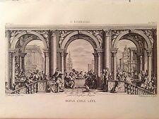 CENA A CASA DI LEVI Incisione originale XIX secolo PAOLO VERONESE ultima cena