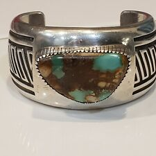 NATURAL TURQUOISE BROWN&BLUE. NAVAJO CUFF BRACELET925 STERLING BY D.A JACKSON