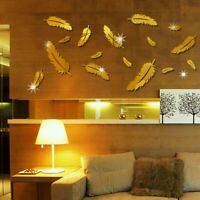 DIY 3D Mirror Home Feather Wall Sticker Quote Flower Acrylic Art Decal Removable