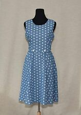 RETRO-VINTAGE A-LINE  DRESS SZ L MODCLOTH THE REAL AHOY DENIM IN DOTS SLEEVELESS