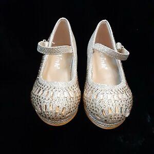 Toddler Girls Dress Shoes Heels Champagne Rhinestone Link 7 CASSIE 28KA NIB