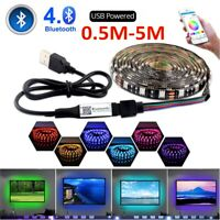 5V USB Powered Wireless Wifi Bluetooth LED Strip Lights 5050 RGB TV Backlight