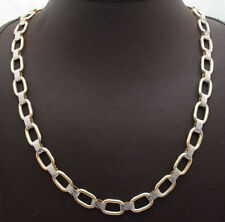 "18"" Technibond Diamond Cut Oval Chain Necklace 14K Yellow White Gold Clad Silver"