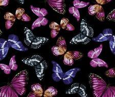 Benartex Papillion Butterfly Pansy Floral Purple Violet Lavender Quilt Fabric 4B