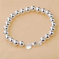 Frauen Schmuck 925 Silber Überzogene Perlen String Kette Armband Armreif NAB