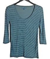 Women's Van's Pullover Black Dark Green Striped 3/4 Sleeve Shirt Size Small Top