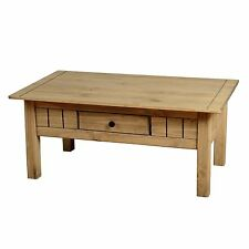 Seconique Panama Solid Pine Coffee Table with Drawer - Waxed Farmhouse Finish