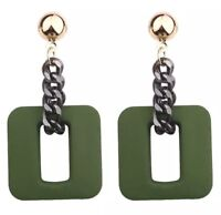 Green Acrylic Square Link Chain Earrings Hypoallergenic Stud Fixing Party Gift