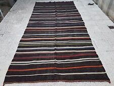 Mid Century Handwoven Brown Color Wide Goat Hair Kilim Rug Runner 5.2 X11.1 ft.