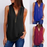Fashion Women Casual Sleeveless Tops T-Shirt Loose Zipper V-Neck Tops Blouse