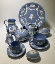 9 Wedgwood Blue Jasperware Creamers Sugar Bowl Egg Boxes Plate Cups Saucers Bell