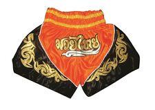 Top Muay Thai Shorts, Thai- Kickboxing Trousers, Trunks, 100% Satin, orange Gr.L