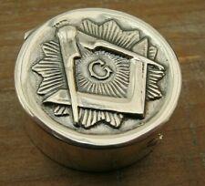 Birmingham Hallmarked Sterling Silver Embossed Masonic Snuff / Box / Vinaigrette
