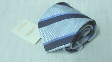 NEW DolcePunta 100% Pure Silk Handmade Italian Tie Lilac Purple & Blue Stripes